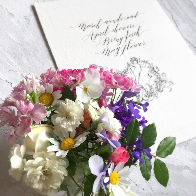 モダンカリグラフィー バイブラント体とお花と天使の線画_b0165872_09040376.jpg