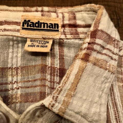 "1970s "" Madman \"" 100% INDIA COTTON - CALIFORNIAN - MADRAS CHECK S/S SHIRTS ._d0172088_17475974.jpg"