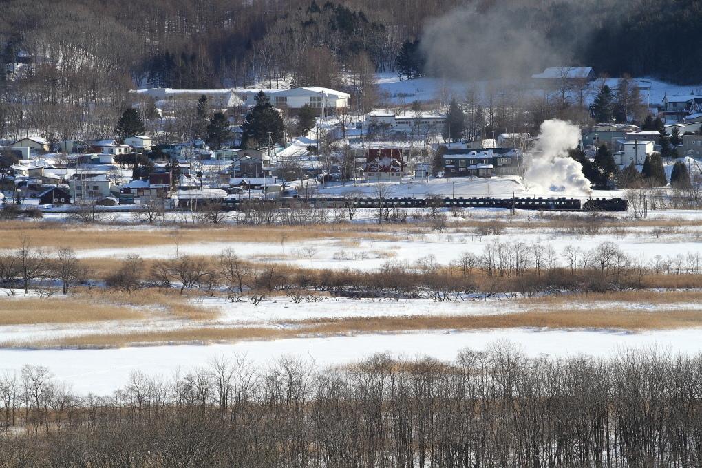 雪の釧路湿原のほとりに白煙が立つ - 釧網線 -_b0190710_17192428.jpg