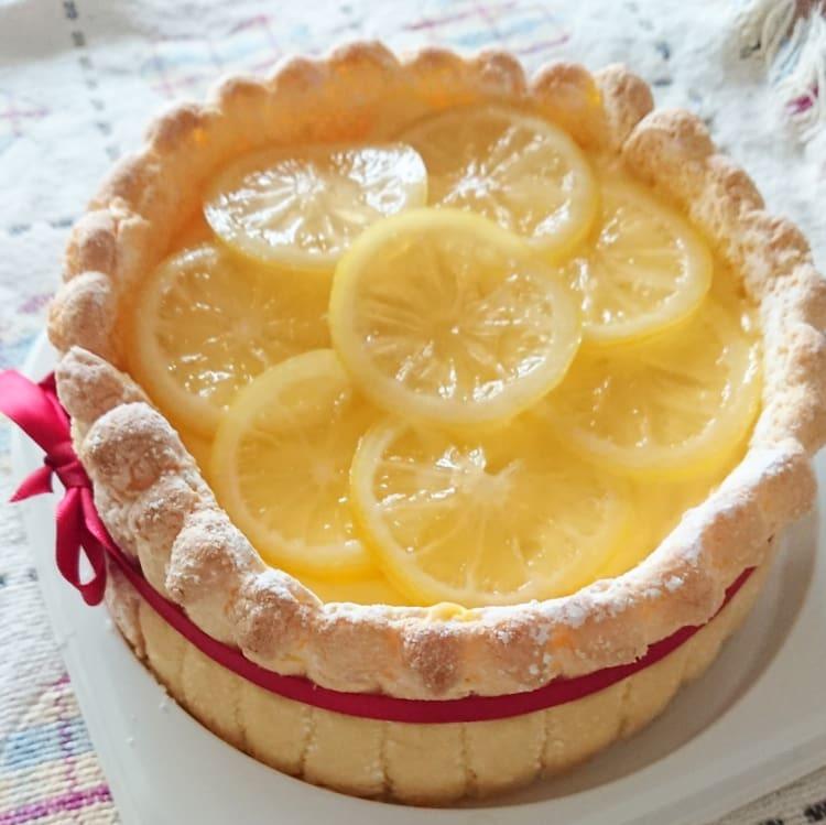 「レモンババロアシャルロットケーキ」レッスン_a0113430_08270349.jpg