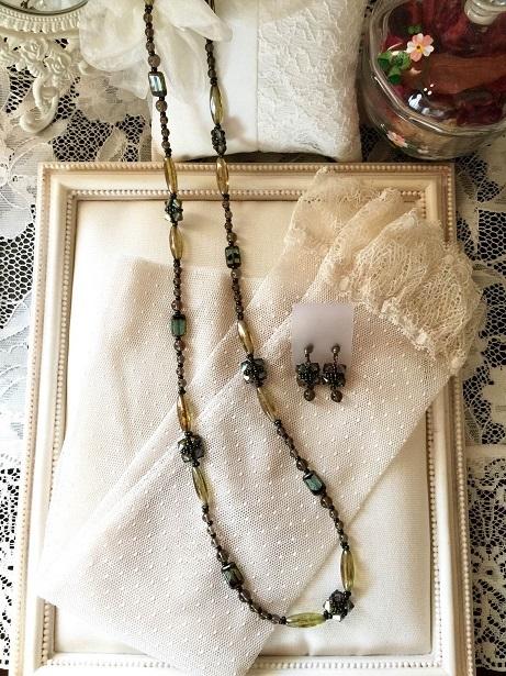 ❀Antique Green Long Necklace & Earrings❀_c0368764_11150402.jpg