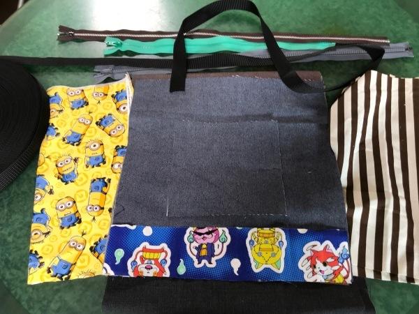 孫のサブバッグの残布で、アニメカバを作ります。_e0397389_15413917.jpg