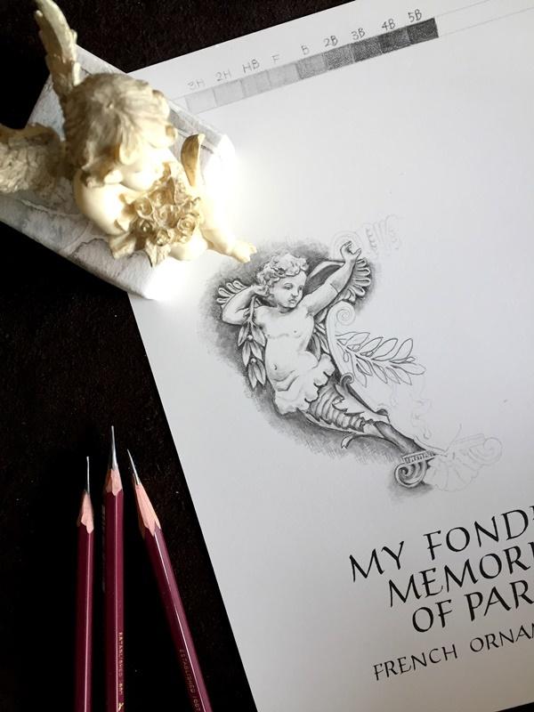 天使の鉛筆画 スペンサリアンとローマンキャピタル体と_b0165872_20554591.jpg