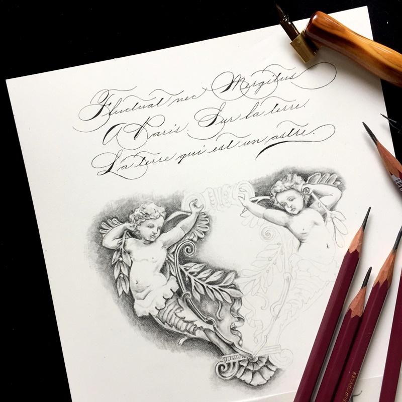 天使の鉛筆画 スペンサリアンとローマンキャピタル体と_b0165872_20555281.jpg