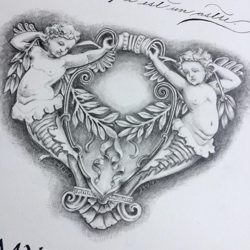 天使の鉛筆画 スペンサリアンとローマンキャピタル体と_b0165872_20555888.jpg