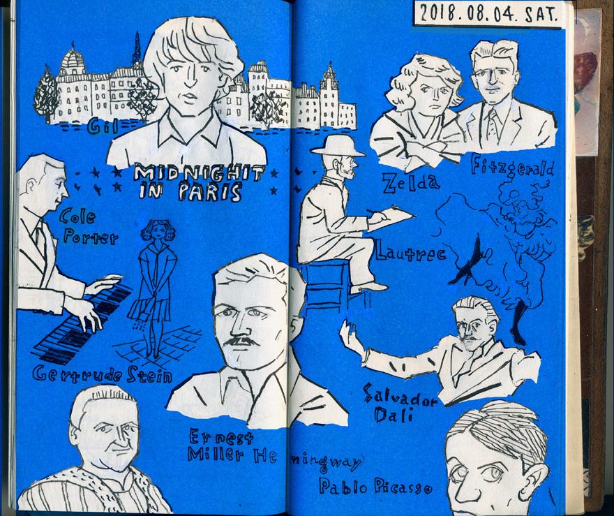 2018.08.04. ミッドナイト・イン・パリ  daily drawing_a0052641_22482212.jpg