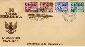 インドネシア共和国独立10周年&20周年記念切手とモナス(独立記念塔)切手初日カバー_a0054926_23293679.jpg