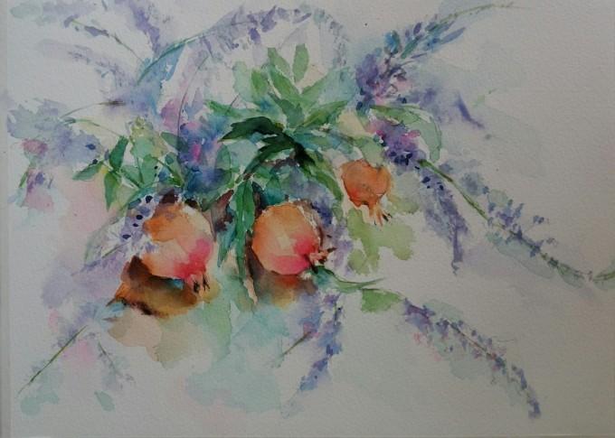 柘榴とブットレアの水彩画_f0035506_15081253.jpg