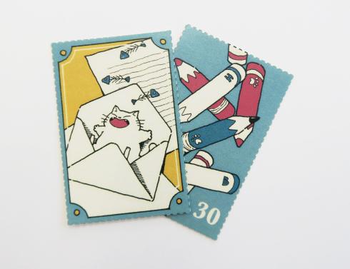 【切手風目打ちシール】レトロで可愛い切手風目打ちシール_d0095746_11325236.jpg