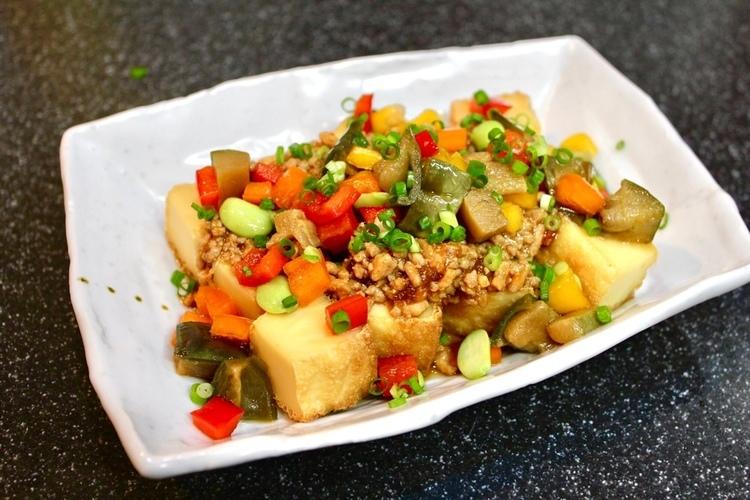 常備菜、和風麻婆肉味噌を使って冷やし豆乳担々麺&おぼろ豆腐の冷やし麻婆。_a0223786_09121789.jpg