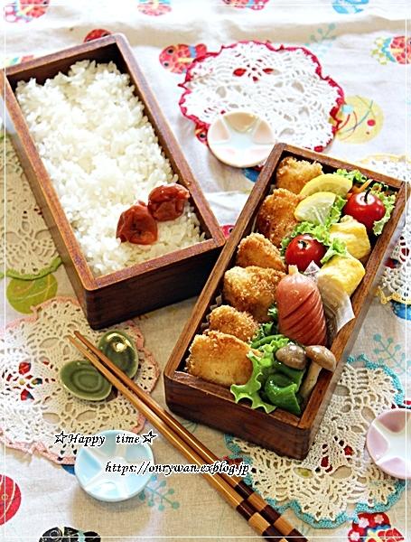 チキンカツ弁当ととうもろこしスープとラウンドパン♪_f0348032_18345472.jpg