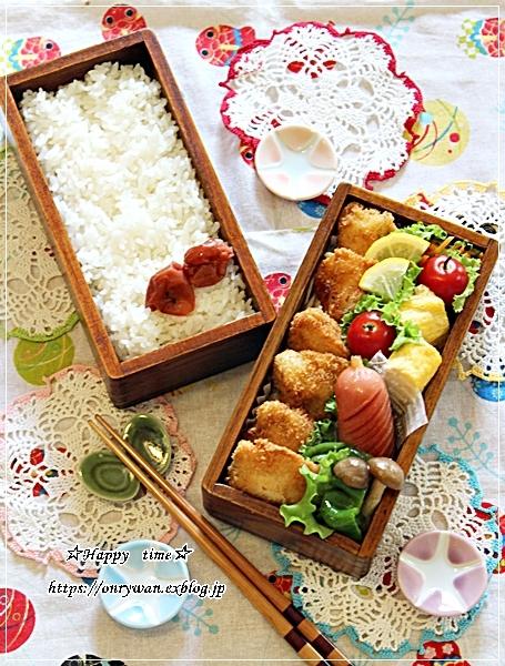 チキンカツ弁当ととうもろこしスープとラウンドパン♪_f0348032_18350220.jpg