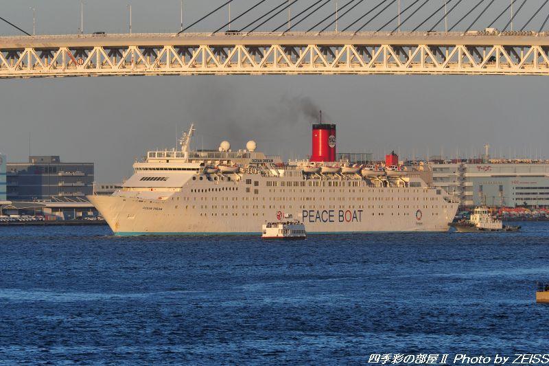 ピースボート「オーシャンドリーム」が夕日を浴びて横浜港に入港_d0358854_20384780.jpg