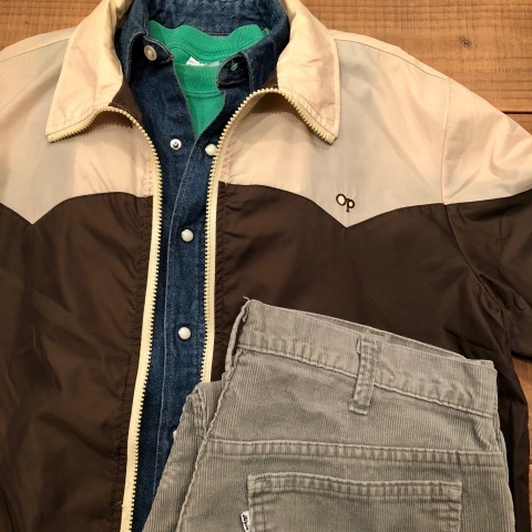 "1980s "" Wrangler \"" 100% cotton DENIM WESTERN SHIRTS - Ecru stone スナップ釦 - ._d0172088_22111087.jpg"