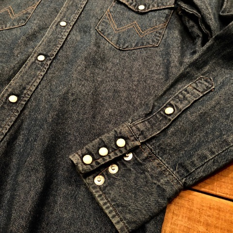 "1980s "" Wrangler \"" 100% cotton DENIM WESTERN SHIRTS - Ecru stone スナップ釦 - ._d0172088_22200398.jpg"