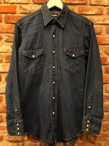 "1980s "" Wrangler \"" 100% cotton DENIM WESTERN SHIRTS - Ecru stone スナップ釦 - ._d0172088_22203649.jpg"