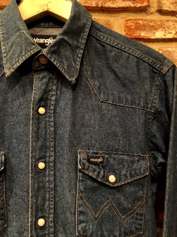 "1980s "" Wrangler \"" 100% cotton DENIM WESTERN SHIRTS - Ecru stone スナップ釦 - ._d0172088_22210051.jpg"