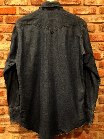 "1980s "" Wrangler \"" 100% cotton DENIM WESTERN SHIRTS - Ecru stone スナップ釦 - ._d0172088_22221517.jpg"