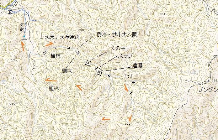 姉川支流矢谷から1110mピーク尾根下降_e0064783_11440730.jpg