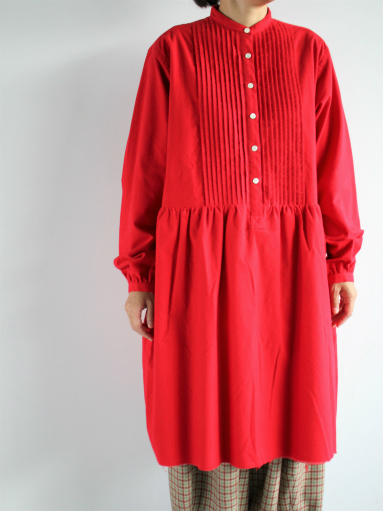 NEEDLES Pin Tuck Dress - Cotton Flannel / Red _b0139281_12344974.jpg
