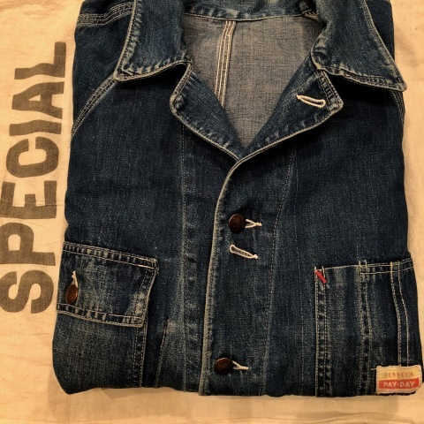 "1950s "" PENNEY\'S - PAY DAY - \"" 100% cotton VINTAGE DENIM COVER ALL ._d0172088_22214543.jpg"