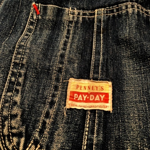 "1950s "" PENNEY\'S - PAY DAY - \"" 100% cotton VINTAGE DENIM COVER ALL ._d0172088_22221617.jpg"