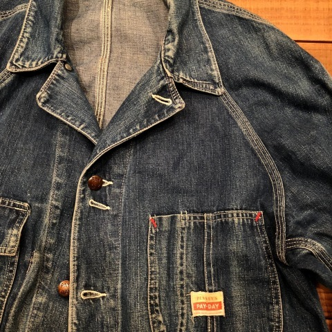 "1950s "" PENNEY\'S - PAY DAY - \"" 100% cotton VINTAGE DENIM COVER ALL ._d0172088_22242021.jpg"