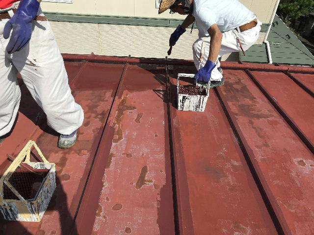 屋根塗装2日目_f0031037_19524588.jpg