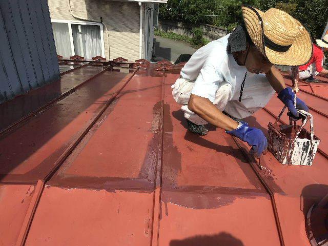 屋根塗装2日目_f0031037_19534726.jpg