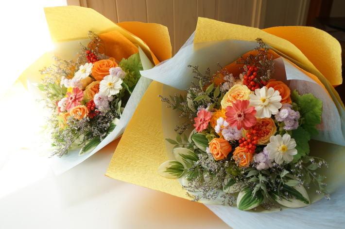 #贈呈用花束! オレンジ系で_a0136507_22280509.jpg
