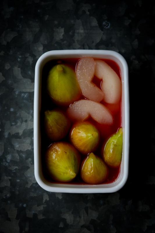 イチジクと梨のコンポート 日本酒  お昼寝アート マーメイド_d0034447_19573062.jpg
