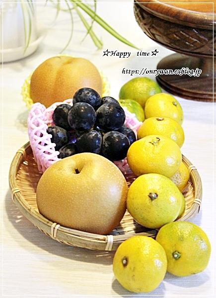 牛肉ピーマンの甘辛炒め弁当と秋の果物♪_f0348032_18184222.jpg