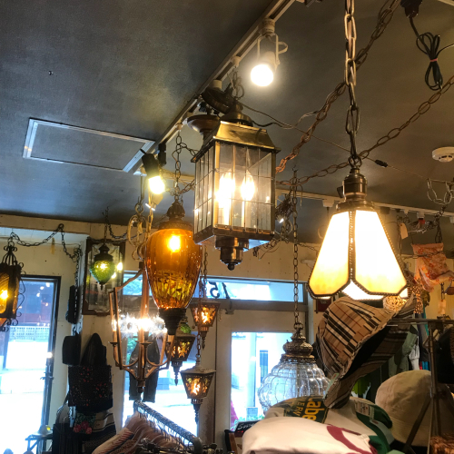 〜80\'s Retro Old Smoke Ball Glass Hanging Lamp_a0182112_12380220.jpg