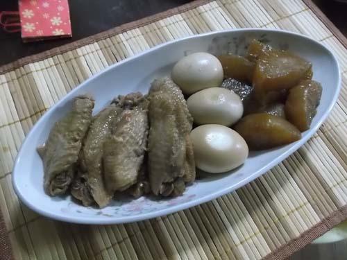 鶏手羽先と大根の煮物&みょうがの梅酢漬_f0019498_21231562.jpg