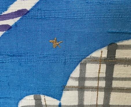 商品紹介・岡田その子さん・綺麗な青色の楽しい型絵染の帯。_f0181251_1611851.jpg