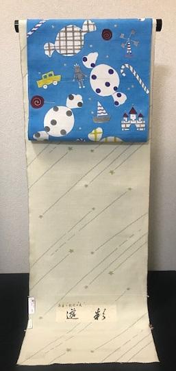 商品紹介・岡田その子さん・綺麗な青色の楽しい型絵染の帯。_f0181251_16879.jpg