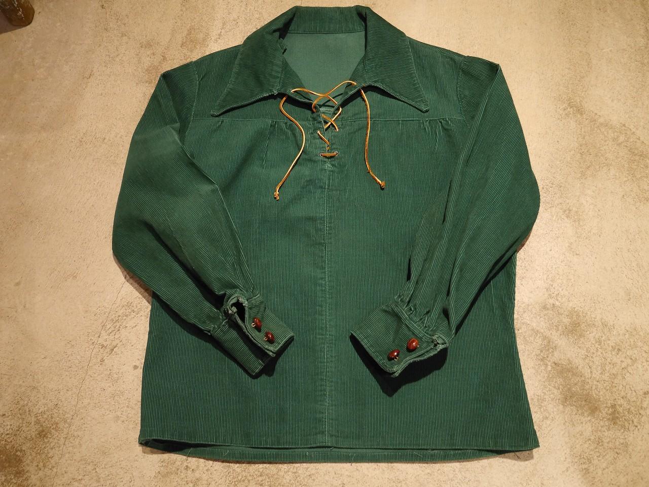 1970's Corduroy Lace Up Shirt!! - BAYSON BLOG