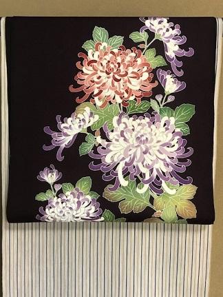 秋にピッタリの菊の染帯と先日仕入れたばかりの縞の御召_f0181251_15385833.jpg