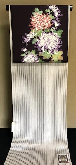 秋にピッタリの菊の染帯と先日仕入れたばかりの縞の御召_f0181251_15392160.jpg