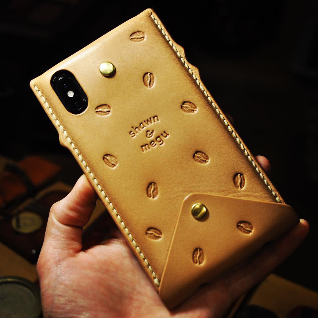 iPhone Xs Max leather case : coffee custom_b0172633_20433287.jpg