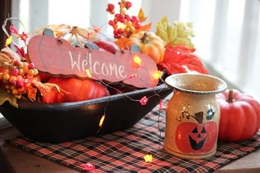 秋のテーブルデコレーションとパンプキン柄のポタリー_f0161543_15163919.jpg