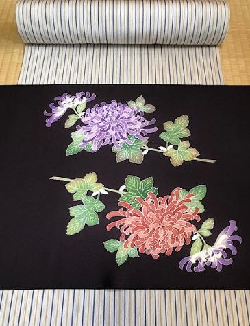 菊染め帯前太鼓+縞の御召+小物コーディネイト・菊の簪。_f0181251_15462264.jpg