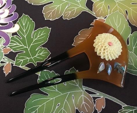 菊染め帯前太鼓+縞の御召+小物コーディネイト・菊の簪。_f0181251_15562053.jpg