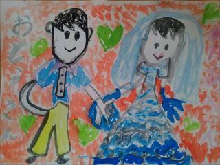 [小学1年生日記 ⑩] 結婚記念日に 娘から絵のプレゼント_a0239890_09082937.jpg