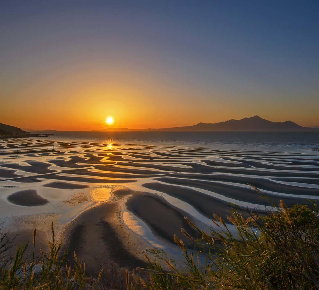 夕景 回想⑤)御輿来海岸の砂紋様=熊本県宇土市_d0238245_22033928.jpg