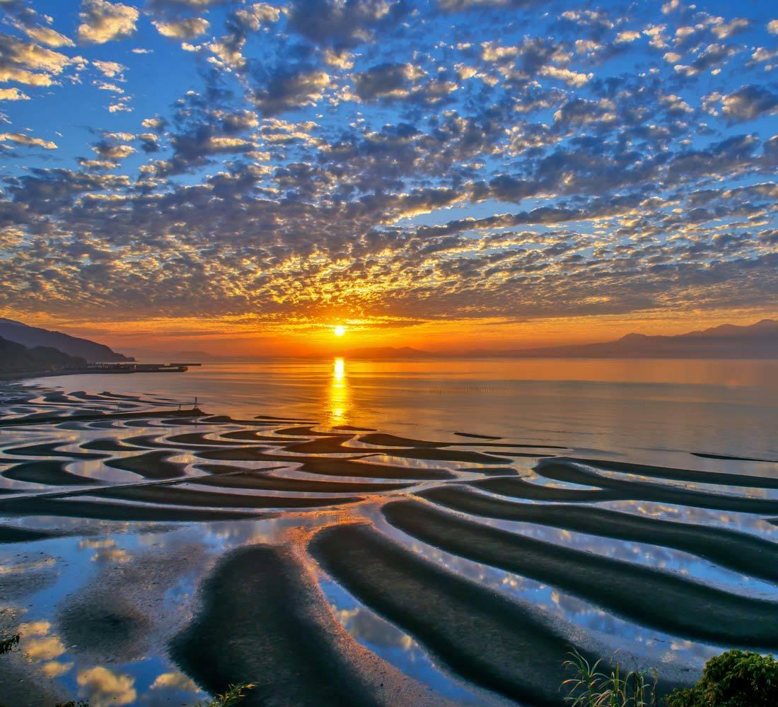 夕景 回想⑤)御輿来海岸の砂紋様=熊本県宇土市_d0238245_14543066.jpg