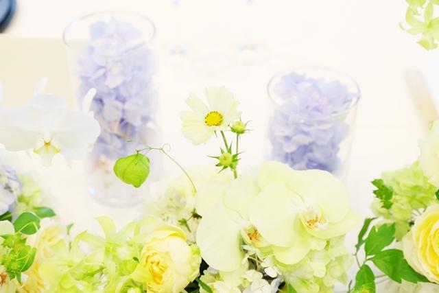 秋の装花 ホテルニューオータニ様へ 水色と黄色と、ふうせんかずらの無重力_a0042928_15160431.jpg