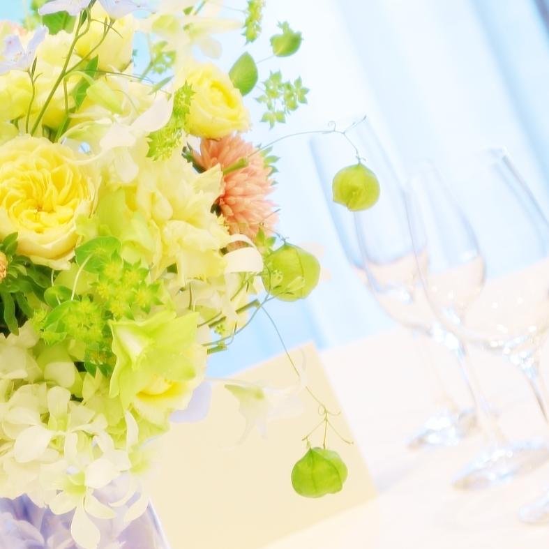 秋の装花 ホテルニューオータニ様へ 水色と黄色と、ふうせんかずらの無重力_a0042928_15170228.jpg