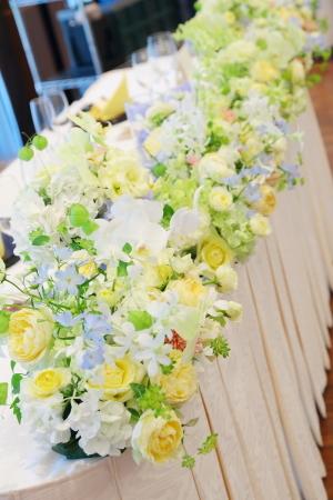 秋の装花 ホテルニューオータニ様へ 水色と黄色と、ふうせんかずらの無重力_a0042928_15184843.jpg