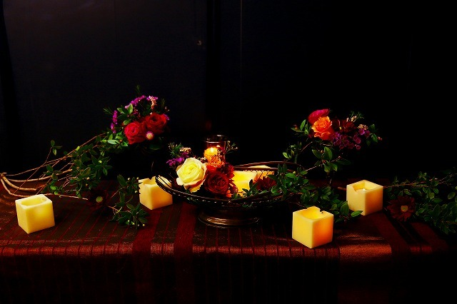 10月の一会マンスリーレッスン キャンドルと器と花を自分でコーディネイトしよう&持って帰っていいよ_a0042928_19551009.jpg